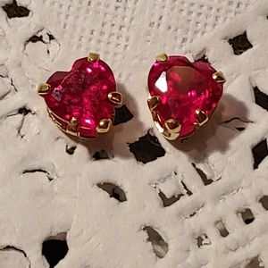 14k Gold Heart Shaped Lab Created Ruby Earrings